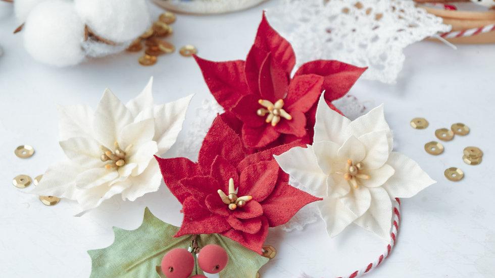 "Set of flowers ""Fairy winter"" poinsettia"