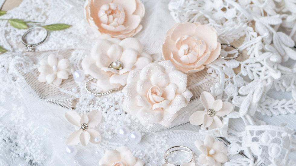 "Set of flowers ""DIAMOND"" peach"