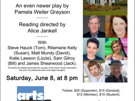 A COMFORTABLE LIFE had a revised staged reading at Arts on the Lake in Kent, New York June 8, 2019.