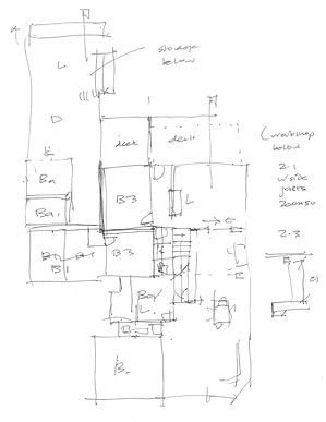 A concept floor plan sketch for residential alterations drawn by Cranko Architects