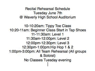 Recital Rehearsal Schedule