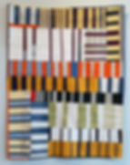 Fences I. Deconstructed garments and other fabrics, machine pieced and quilted. 37 x 29 inches.