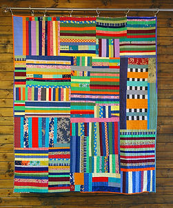 Quilt Diary 201807: Under the Whelm. Deconstructed garments and other fabrics, machine pieced and quilted. 66 x 54 inches.