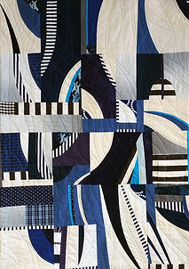 Magpie: Myths and Secrets. Deconstructed garments and other fabrics, machine pieced and quilted. 54 x 37 inches.