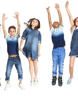 Cute stylish children on white backgroun