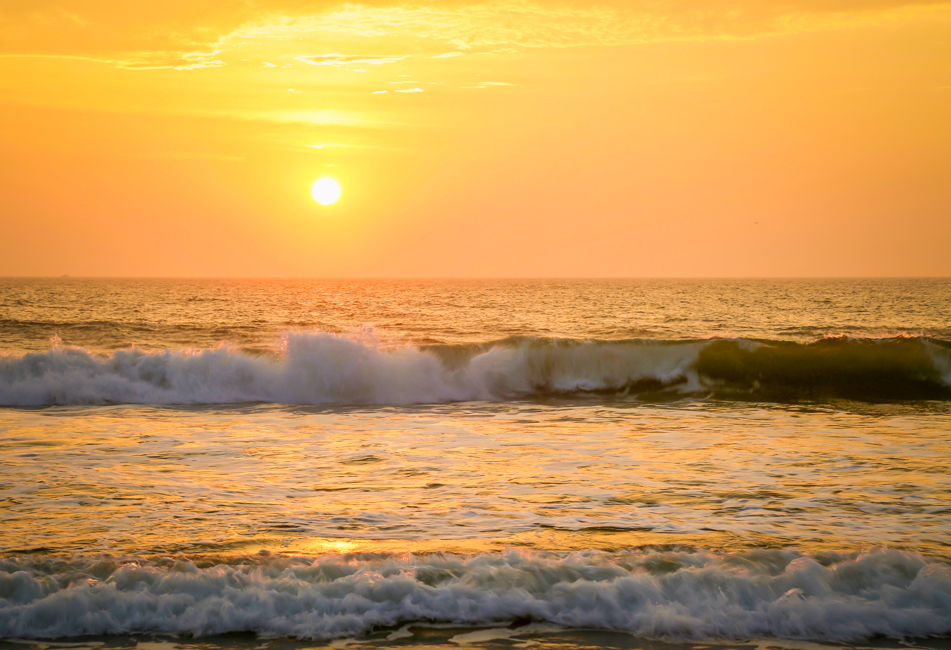 Sunset and Waves