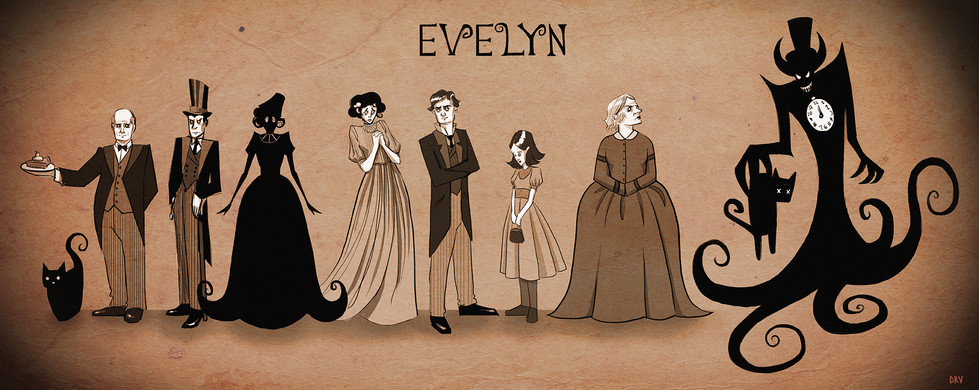 All of the character designs for Evelyn illustrated by me.