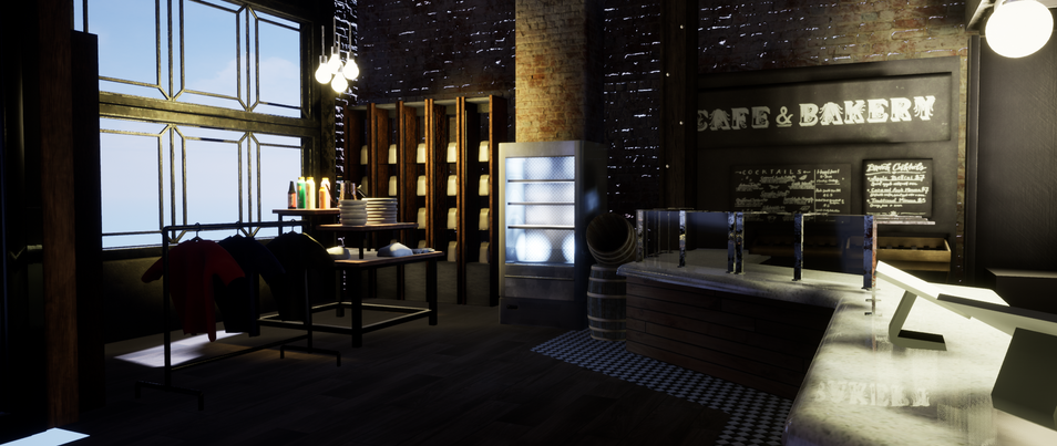 Responsible for garbage can, tables, building entrance, drink cooler, lighting, front window, kettle, and barrels.
