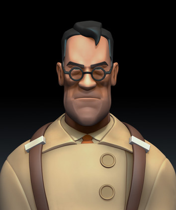 This is a model I sculpted based on the Medic character in Team Fortress 2. This is the high poly version of the model, rendered in ZBrush.