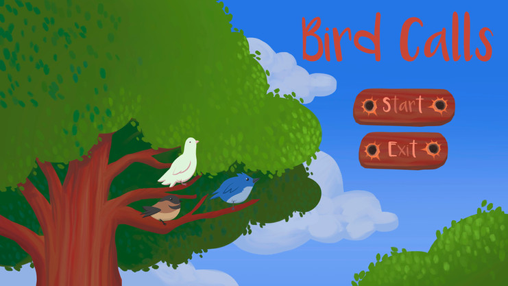 Title Screen for Bird Calls illustrated by me.