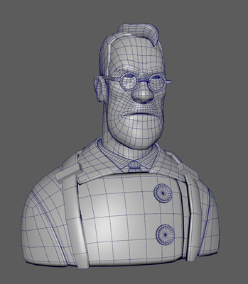 This is a model I sculpted based on the Medic character in Team Fortress 2. This is the wireframe of the game ready model.