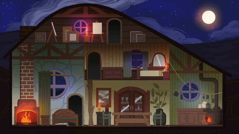 Inside of the house illustrated by me.