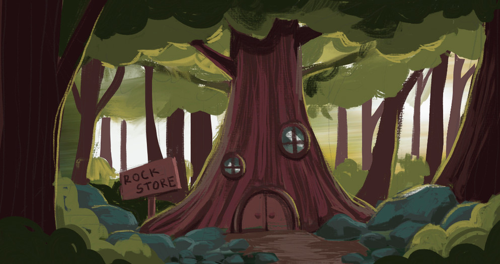 Rock store concept art painted by me.