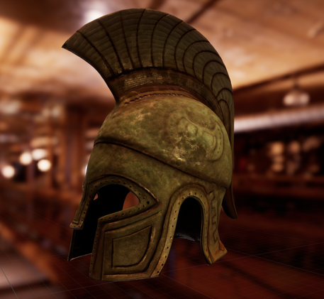 Ancient Greek helmet model modeled, textured and lighted by me.