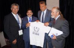 Joel Bouzou President Peace and Sport Monaco, Diego Maradona, Elias Figueroa, Steve Leighton