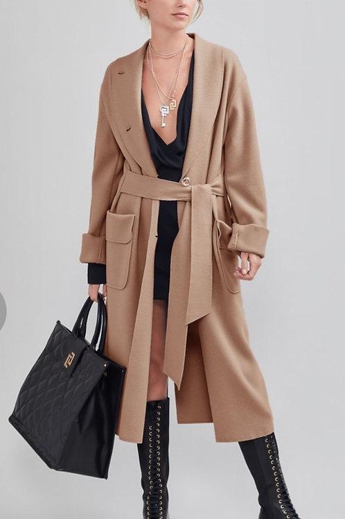 Cappotto in mouflon cammello
