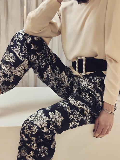 Pantaloni in raso elasticizzato di viscosa
