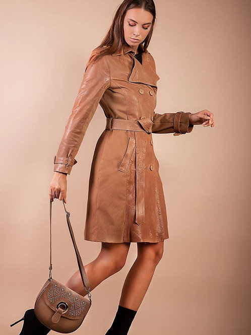 Trench in pelle con inserti in canvas - B for Leather