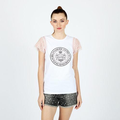 T-shirt con piume e stampa Le Voliere