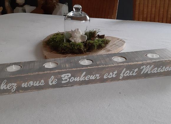 Bougeoir en bois 4 bougies