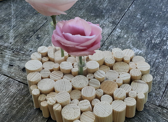 Soliflore coeur en rondins de bois (GM)