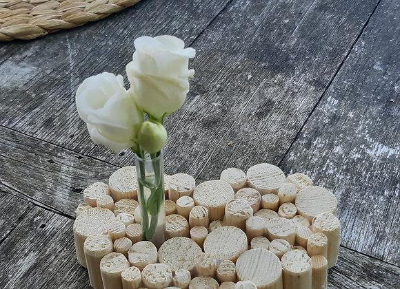 Soliflore coeur rondins bois (PM)
