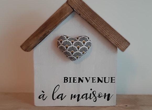 Maison Bienvenue Coeur Gris Jaune