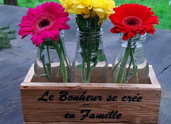 Vase baquet fleurs en bois