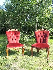 Location fauteuil velours rouge