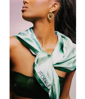 JEOFROI Emerald Wave Silk Scarf