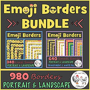 Emoji Borders and Frames BUNDLE - 980 Smile Borders | Portrait and Landscape Page Borders Page Frames Mr and Mrs Rooster