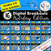 Digital Breakout BUNDLE 16 Escape Rooms Holiday BUNDLE All Year Escape Room