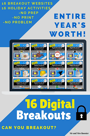 Digital Breakout BUNDLE 16 Escape Rooms Holiday BUNDLE All Year Escape Room Back to School Constitution Day Halloween Thanksgiving Christmas New Years Day Valentine's Day St. Patrick's Day Easter Earth Day Super Bowl April Fool's Day End of School Year March is Reading Month Emoji Escape Room Emoji Breakout Emoji Bandit Mr and Mrs Rooster Mr and Mrs Rooster