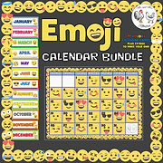 Emoji Calendar Bundle Calendar Months Days Emoji Theme Decor Emoji Theme Decor Emoji Classroom Decor Emoji Poster Mr and Mrs Rooster