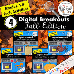 Digital Breakout Escape Room Fall Bundle Mr and Mrs Rooster
