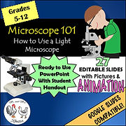 Microscope 101 - How to Use a Light Microscope Editable Ppt with Handout Google Slides Microscope Ready to Use Google Slides Step by step approach to use a microscope Label a Microscope guided questions Anatomy and Physiolocy Life Science Mr and Mrs Rooster