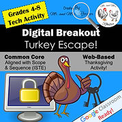 Digital Breakout Escape Room Thanksgiving Mr and Mrs Rooster