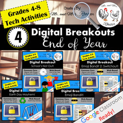 Digital Breakout Escape Room End of Year Bundle Mr and Mrs Rooster
