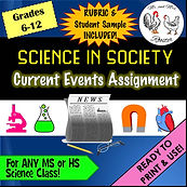 Science In Society | Current Events Assignment | Handout, Rubric, and Example ANY high school or middle school SCIENCE class - such as Life Science, Physical Science, Biology, Chemistry, Physics, Anatomy & Physiology and more Science in Society Current Events Assignment grading rubric Ready to Use Mr and Mrs Rooster