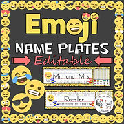 Editable Desk Tags / Name Plates - Emoji Theme Decor Emoji Name Plates Emoji Desk Tags Emoji Classroom Decor Emoji Poster Mr and Mrs Rooster
