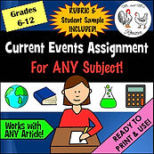 Current Events Assignment for ANY Subject | Handout Rubric and Example Article Summarize Define Key Terms Describe Grading Rubric teacher guide handout Middle School High School Distance Learning Mr and Mrs Rooster
