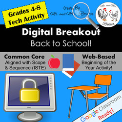 Digital Breakout Back to School Breakout Mr and Mrs Rooster