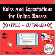 Distance Learning Rules and Expectations for Online Classes Free and Editable Resource Google Classroom Distance Learning Classroom Rules attendance student responsibility grading policies student agreement form Mr and Mrs Rooster
