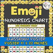 Emoji Hundreds Chart Classroom Poster - Emoji Theme Decor Emoji Theme Decor Emoji Classroom Decor Emoji Poster Mr and Mrs Rooster