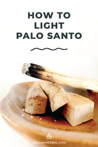 Burning palo santo wood sticks on a wooden tray with a bundle of palo santo sticks.