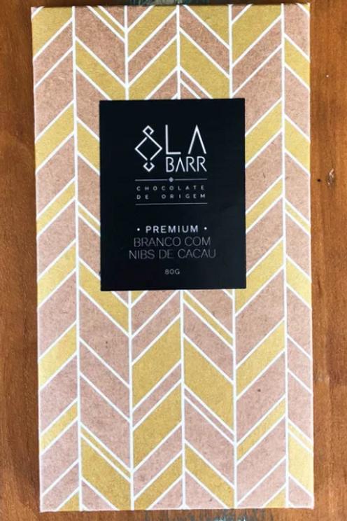 Chocolate Branco com Nibs de Cacau e Fava de Baunilha - 80g