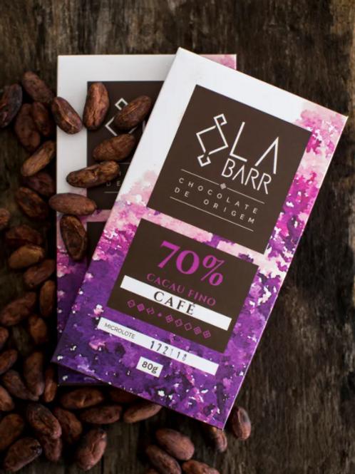 Chocolate 70% cacau com café especial - 80g