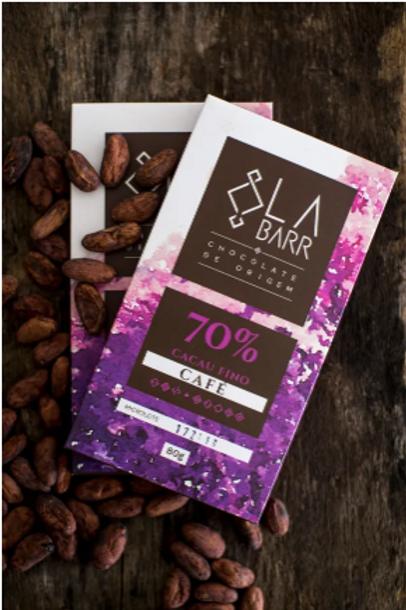 Chocolate 70% cacau com café especial - 30g