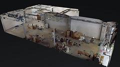 3d Rundgang, 360 Grad Rundgang und Bestandsaufnahme von einer Lagerhalle i