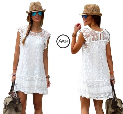 Vestido blanco playa corto